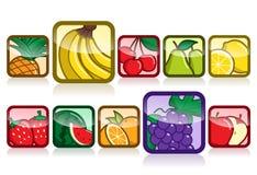Insieme dell'icona della frutta Fotografie Stock Libere da Diritti