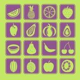 Insieme dell'icona della frutta Fotografia Stock