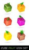 Insieme dell'icona della frutta del cubo Fotografie Stock