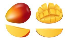 Insieme dell'icona della frutta del mango, stile realistico illustrazione vettoriale