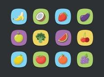 Insieme dell'icona della frutta di vettore Fotografia Stock Libera da Diritti