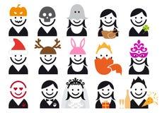 Insieme dell'icona della gente di festa, vettore illustrazione di stock