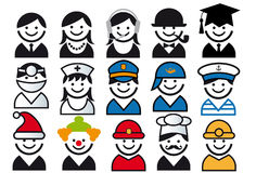 Insieme dell'icona della gente di vettore di professione Immagini Stock Libere da Diritti