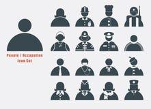 Insieme dell'icona della gente e dell'occupazione in grafico in bianco e nero semplice Immagini Stock Libere da Diritti