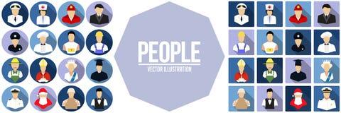 Insieme dell'icona della gente Illustrazione di vettore Immagini Stock