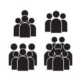 Insieme dell'icona della gente nello stile piano d'avanguardia isolato su fondo Segni della folla Simbolo per la vostra progettaz illustrazione di stock