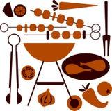 Insieme dell'icona della griglia del BBQ e di picnic Fotografia Stock