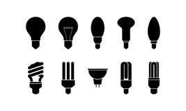 Insieme dell'icona della lampadina Vettore Fotografia Stock