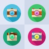 Insieme dell'icona della macchina fotografica con ombra lunga Fotografia Stock Libera da Diritti