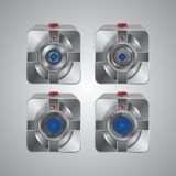 Insieme dell'icona della macchina fotografica del metallo Immagini Stock Libere da Diritti