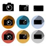 Insieme dell'icona della macchina fotografica della foto di vettore Immagini Stock
