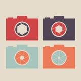 Insieme dell'icona della macchina fotografica Vector la macchina fotografica di Digitahi Icona piana Fotografia Stock Libera da Diritti