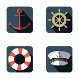 Insieme dell'icona della marina, progettazione piana, illustrazione di vettore illustrazione vettoriale