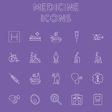 Insieme dell'icona della medicina Immagine Stock