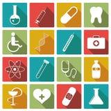 Insieme dell'icona della medicina Illustrazione di vettore Fotografie Stock