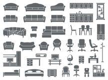 Insieme dell'icona della mobilia Fotografie Stock