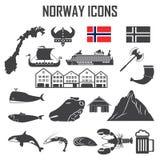 Insieme dell'icona della Norvegia Fotografia Stock Libera da Diritti