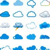 Insieme dell'icona della nube Fotografia Stock Libera da Diritti