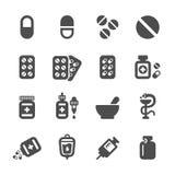 Insieme dell'icona della pillola e della farmacia, vettore eps10 Immagini Stock Libere da Diritti