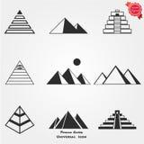 Insieme dell'icona della piramide Fotografia Stock