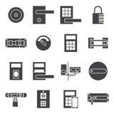Insieme dell'icona della porta di serrature Fotografie Stock