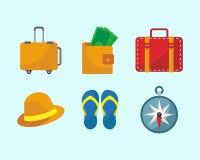 Insieme dell'icona della roba di viaggio illustrazione di stock