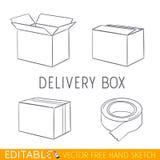 Insieme dell'icona della scatola di consegna Grafico di vettore editabile nello stile lineare Immagini Stock