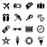 Insieme dell'icona della siluetta semplice nera a proposito di turismo e del viaggio nella progettazione piana Fotografia Stock