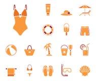 Insieme dell'icona della spiaggia royalty illustrazione gratis