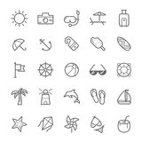 Insieme dell'icona della spiaggia del colpo del profilo royalty illustrazione gratis