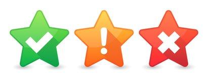 insieme dell'icona della stella con i segni di indagine Fotografia Stock