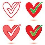 Insieme dell'icona della tacca & del cuore Fotografia Stock