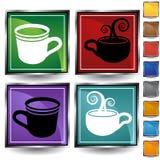 Insieme dell'icona della tazza di caffè Fotografie Stock Libere da Diritti