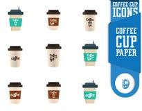 Insieme dell'icona della tazza di caffè Immagini Stock Libere da Diritti