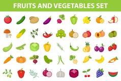 Insieme dell'icona della verdura e della frutta fresca, piano, stile fumetto Bacche ed erbe su fondo bianco Prodotti di fattoria royalty illustrazione gratis