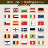 Insieme dell'icona delle bandierine del mondo di tiraggio della mano di vettore illustrazione vettoriale