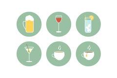 Insieme dell'icona delle bevande Fotografia Stock Libera da Diritti