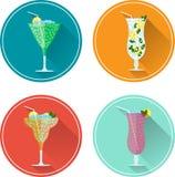 Insieme dell'icona delle bevande e dei cocktail dell'alcool Fotografia Stock