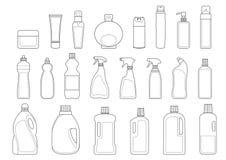 Insieme dell'icona delle bottiglie degli articoli da toeletta Fotografie Stock Libere da Diritti