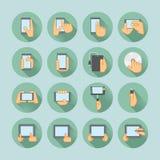 Insieme dell'icona delle compresse e degli Smartphones Fotografia Stock