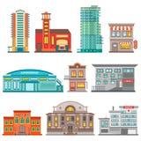 Insieme dell'icona delle costruzioni della città illustrazione di stock