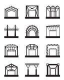 Insieme dell'icona delle costruzioni metalliche Fotografia Stock