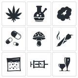 Insieme dell'icona delle droghe illustrazione di stock