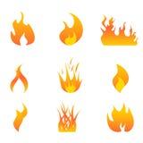 Insieme dell'icona delle fiamme Immagini Stock