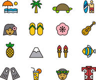 Insieme dell'icona delle Hawai Fotografia Stock Libera da Diritti