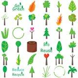 Insieme dell'icona delle piante Immagine Stock