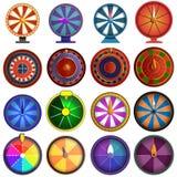 Insieme dell'icona delle roulette, stile del fumetto illustrazione vettoriale