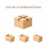 Insieme dell'icona delle scatole di cartone Fotografia Stock Libera da Diritti