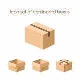 Insieme dell'icona delle scatole di cartone Fotografie Stock Libere da Diritti