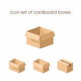 Insieme dell'icona delle scatole di cartone Immagini Stock